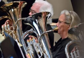Brass section performing with Meridian Community Band