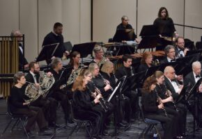 Brass, wind and percussion sections performing concert